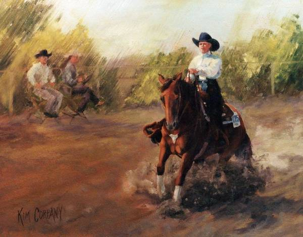 Aqha Painting - Tango Reining Horse Slide Stop Portrait Painting by Kim Corpany