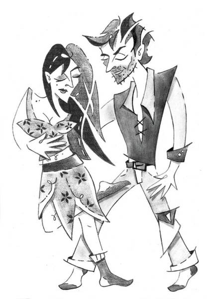 Wall Art - Drawing - Tango Yoga - Colgada Step - Dancing Couple by Arte Venezia