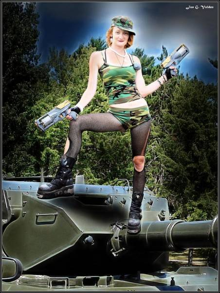 Painting - Tank Gal On Turret by Jon Volden