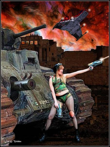 Painting - Tank Girl In Action by Jon Volden