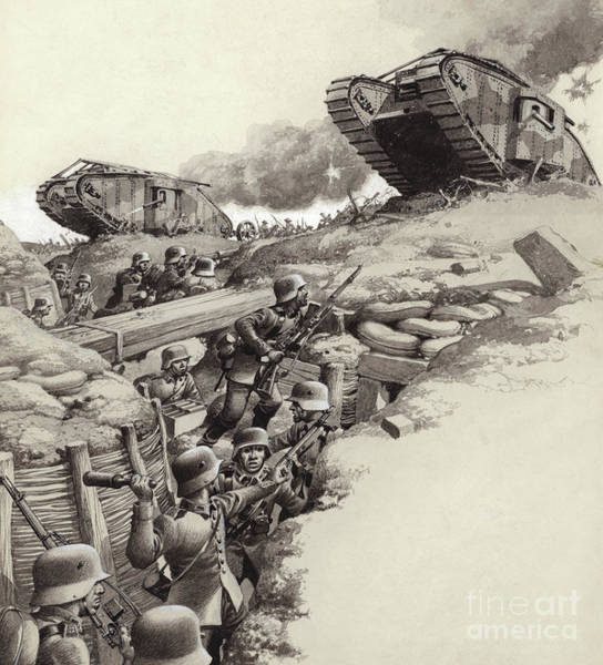 Tank Painting - Tanks Roll Over German Trenches During The Great War  by Pat Nicolle