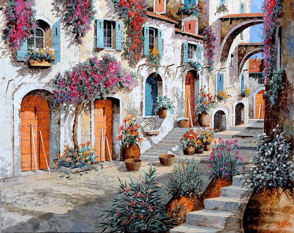 Street Scenes Wall Art - Painting - Tanti Fiori Per Strada by Guido Borelli