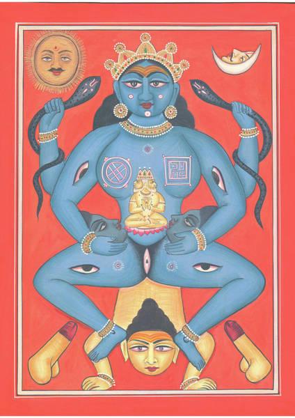 Wall Art - Painting - Tantra Mantra Tantrik Painting Hindu God Shiv Shakti Indian Miniature Painting Watercolor Artwork by Ravi Sharma