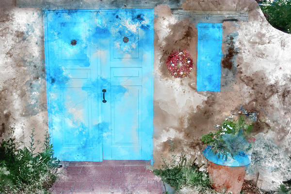 Wall Art - Mixed Media - Taos Blue Door And Window by Kevin O'Hare