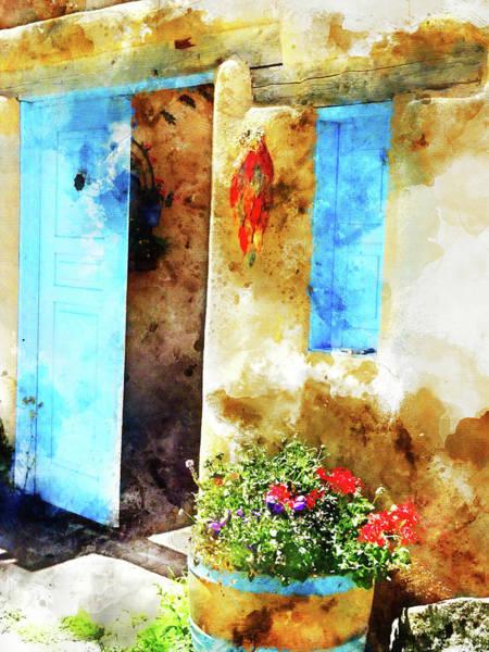 Wall Art - Mixed Media - Taos Blue Door by Kevin O'Hare