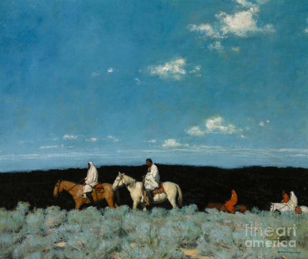 Painting - Taos Indians Homeward Bound by E  Martin Hennings