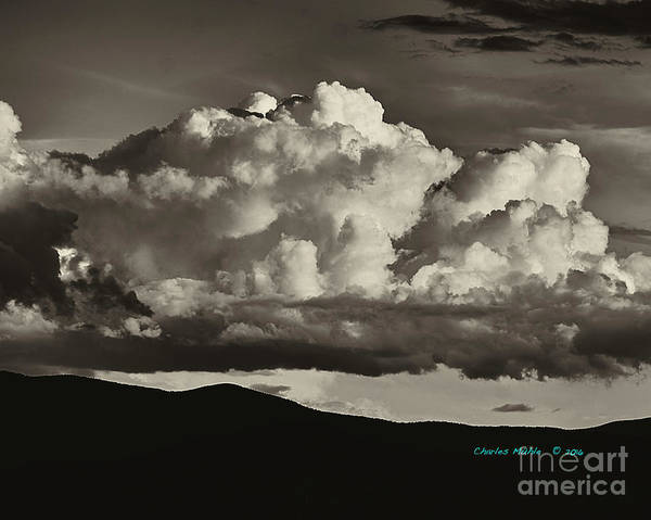 Photograph - Taos Monsoons In Sepia by Charles Muhle