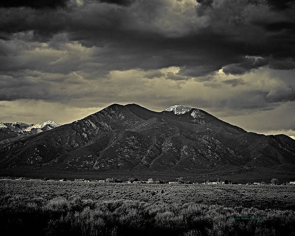 Photograph - Taos Mountain B-w by Charles Muhle