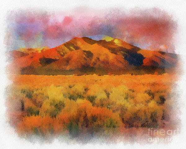 Painting - Taos Mountain In Aquarelle  by Charles Muhle