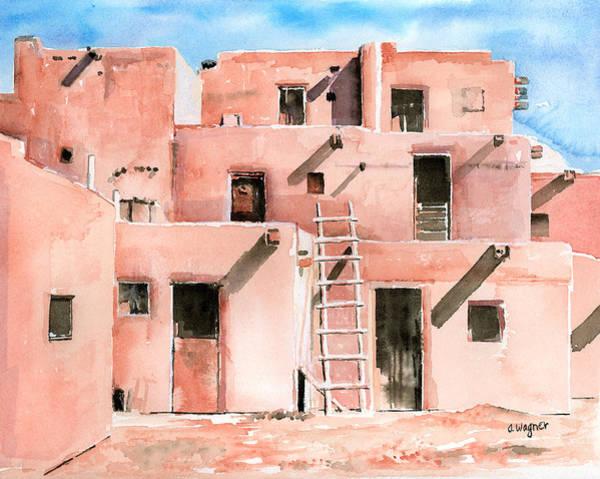 Pueblo Painting - Taos Pueblo New Mexico by Arline Wagner