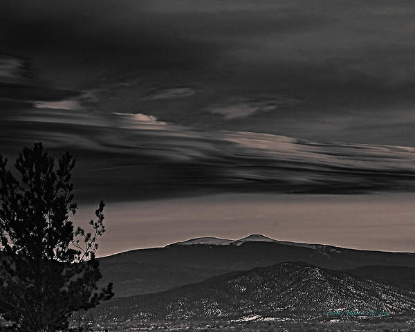 Photograph - Taos Valley At Dusk B-w by Charles Muhle