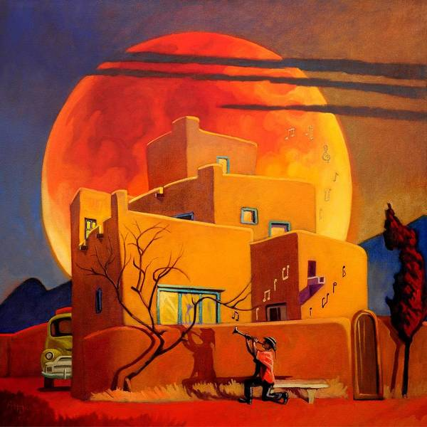 Red Moon Painting - Taos Wolf Moon by Art West