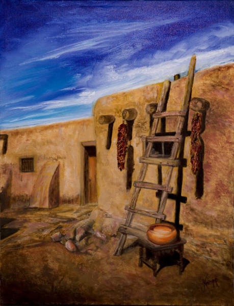 Taos,adobe Living Art Print