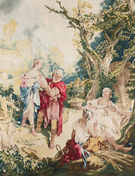 Francois Boucher Painting - Tapestry Showing Psyche And The Basketmaker by Francois Boucher