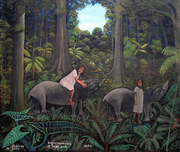 Wall Art - Painting - Tapir In The Jungle by Kayum Ma'ax Garcia