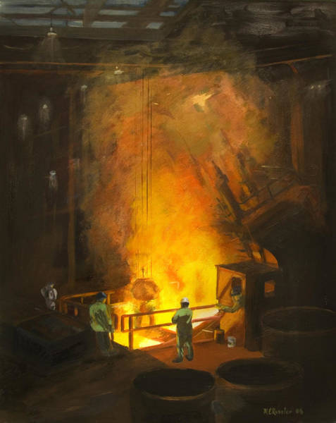 Industrial Wall Art - Painting - Tapping The First Heat by Martha Ressler