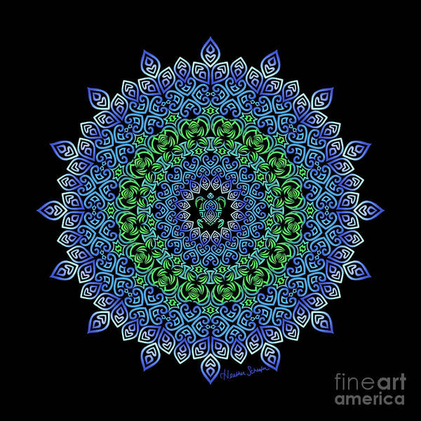 Digital Art - Tara's Tribal Turtle Mandala by Heather Schaefer