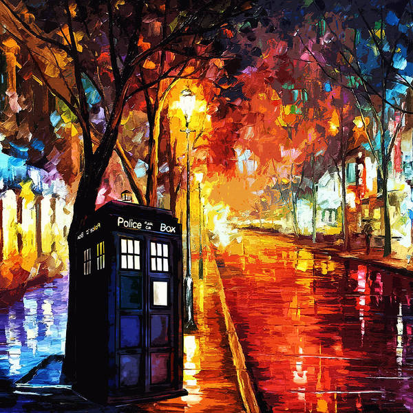 Night Time Digital Art - Tardis Art Painting by Koko Priyanto