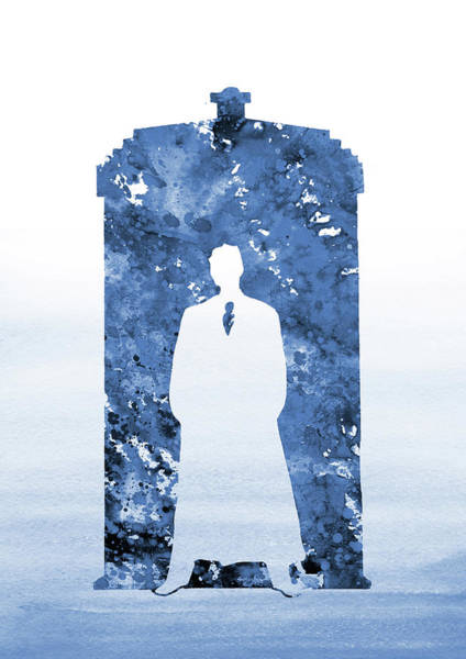 Wall Art - Digital Art - Tardis, Tenth Doctor-blue by Erzebet S