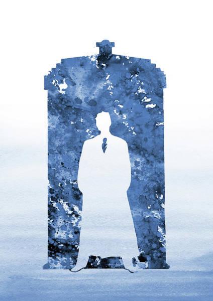 Wall Art - Digital Art - Tardis, Tenth Doctor-blue by Erzebet S