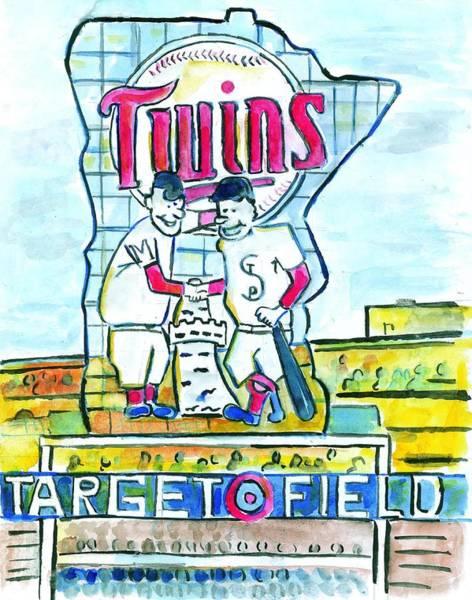 Twins Painting - Target Field  by Matt Gaudian