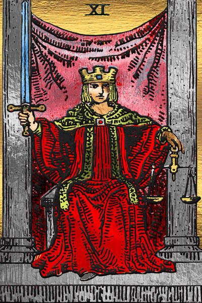 Deck Of Cards Digital Art - Tarot Gold Edition - Major Arcana - Justice by Serge Averbukh