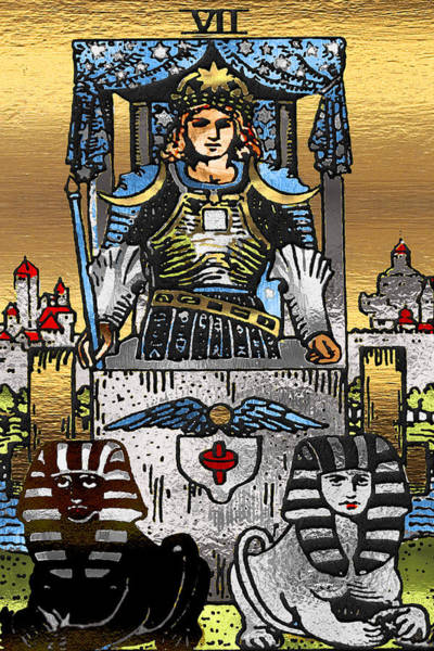 Deck Of Cards Digital Art - Tarot Gold Edition - Major Arcana - The Chariot by Serge Averbukh