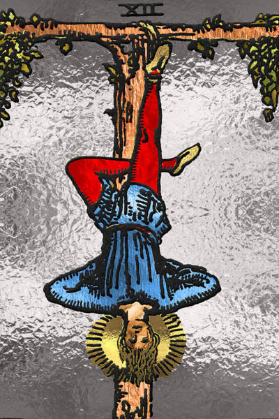 Deck Of Cards Digital Art - Tarot Gold Edition - Major Arcana - The Hanged Man by Serge Averbukh
