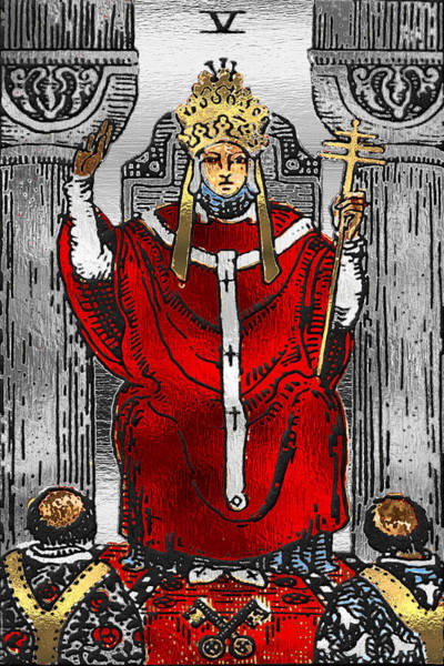 Deck Of Cards Digital Art - Tarot Gold Edition - Major Arcana - The Hierophant by Serge Averbukh