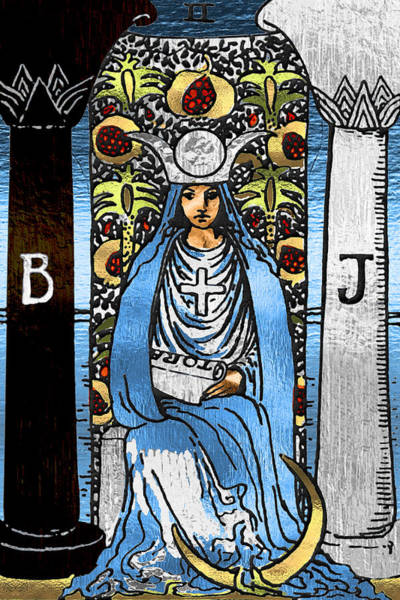 Deck Of Cards Digital Art - Tarot Gold Edition - Major Arcana - The High Priestess by Serge Averbukh