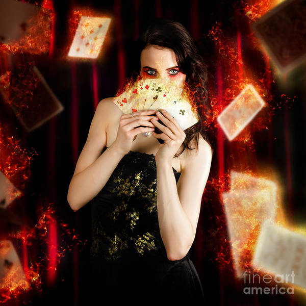 Showgirl Photograph - Tarot Magician Holding Magic Fire Cards Of Fate by Jorgo Photography - Wall Art Gallery