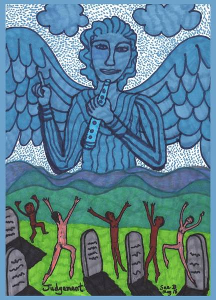 Gravestone Drawing - Tarot Of The Younger Self Judgement by Sushila Burgess