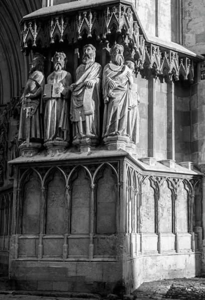 Photograph - Tarragona Spain Cathedral Statues Bw by Joan Carroll