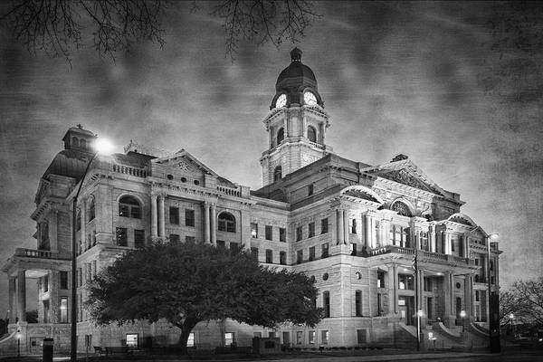 Photograph - Tarrant County Courthouse Rebirth Bw by Joan Carroll