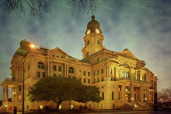 Photograph - Tarrant County Courthouse Rebirth Textured by Joan Carroll