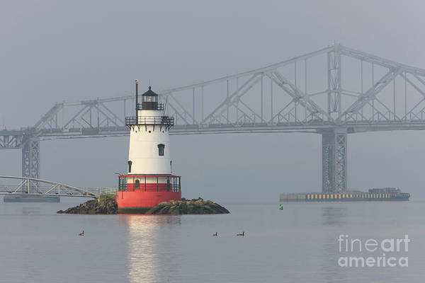 Photograph - Tarrytown Lighthouse And Tappan Zee Bridge I by Clarence Holmes