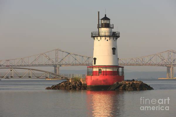 Photograph - Tarrytown Lighthouse And Tappan Zee Bridge Iv by Clarence Holmes
