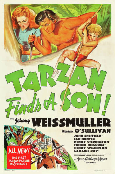Wall Art - Mixed Media - Tarzan Finds A Son 1939 by Mountain Dreams
