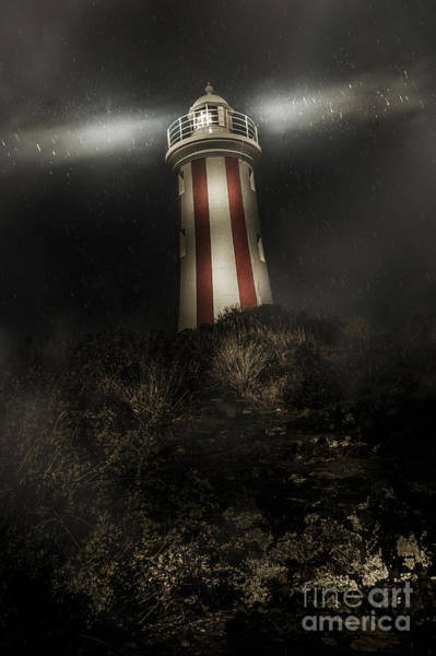 Devonport Wall Art - Photograph - Tasmania Lighthouse In Rain Storm. Guiding Light by Jorgo Photography - Wall Art Gallery