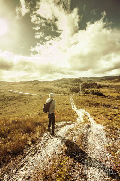 Grassland Photograph - Tasmanian Man On Road In Nature Reserve by Jorgo Photography - Wall Art Gallery