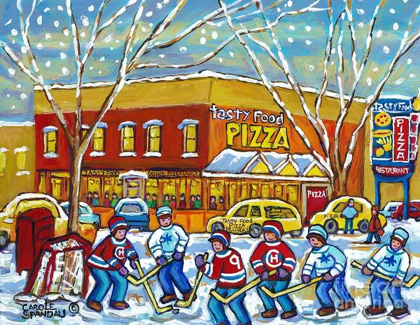 Painting - Tasty Food Pizza Roadside Attraction Drive-in Diners Montreal Hockey Scene Painting C Spandau Art    by Carole Spandau