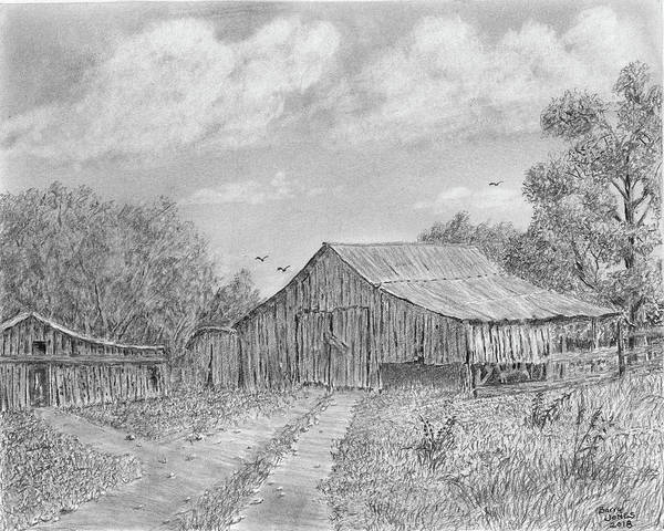 Weeds Drawing - Tate County Barn by Barry Jones