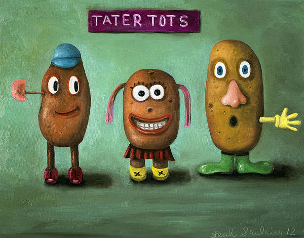 Potato Painting - Tater Tots by Leah Saulnier The Painting Maniac