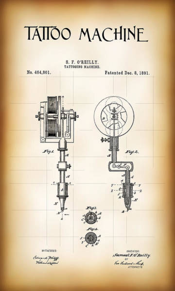 Tats Wall Art - Digital Art - Tattooing Machine Patent 1891 by Daniel Hagerman