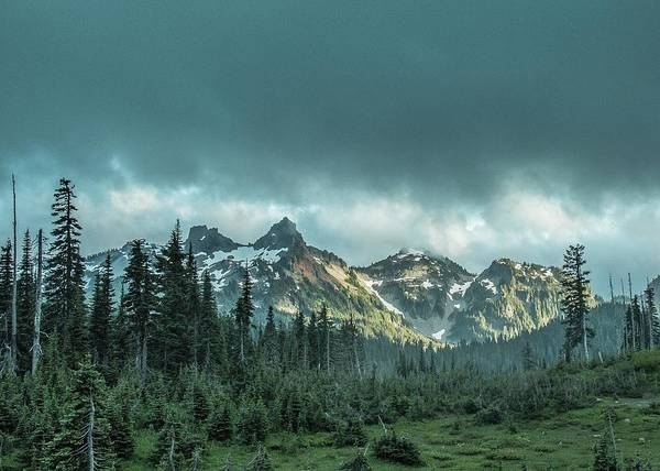 Photograph - Tatoosh With Storm Clouds by E Faithe Lester