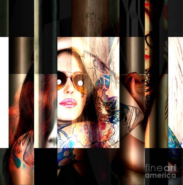 Mixed Media - Tattoo Girl by John Rizzuto
