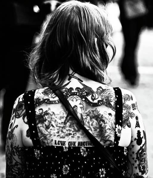 Tats Wall Art - Photograph - Tattoo Lady Black And White by Paul Jarrett