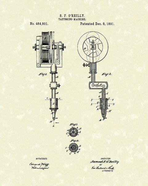 Drawing - Tattoo Machine 1891 Patent Art by Prior Art Design