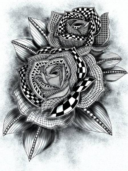 Drawing - Tattoo Rose Greyscale by Becky Herrera