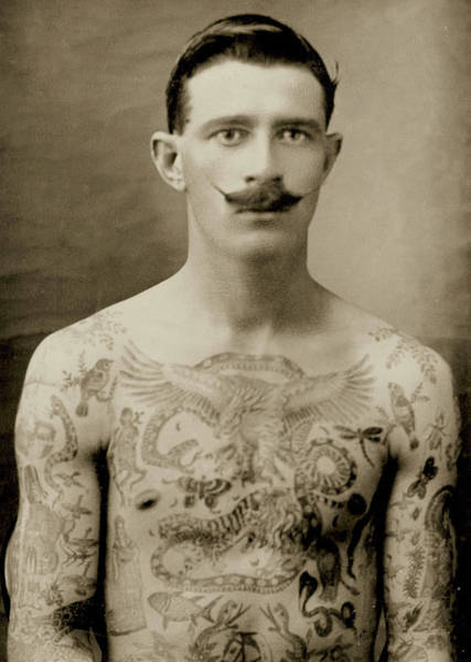 Wall Art - Photograph - Tattooed British Sailor During The First World War by English School